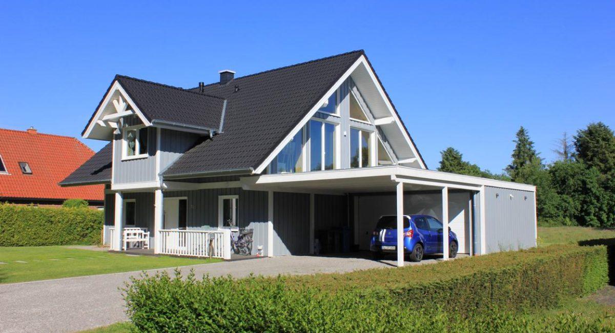 Schwedenhaus als Holzrahmenbau (blaugrau)